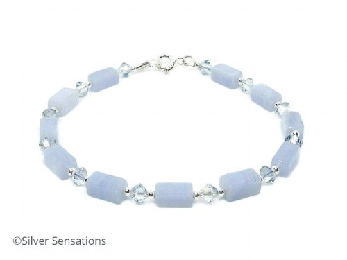 Pastel Blue Lace Agate Bracelet With Swarovski Crystals & Sterling Silver